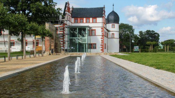 Brunnenmeisterei Weimar, Schreier, Ohrdruf Schlosspark Düsenfläche mit Beleuchtung