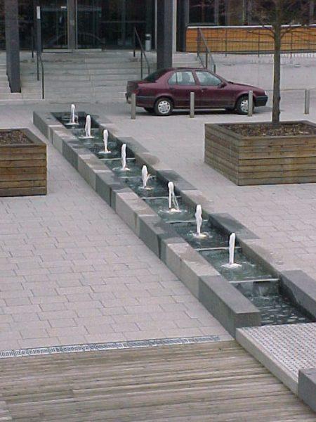 Erfurt Alter Steiger Wasserkaskaden mit mehreren Staustufen und Beleuchtung