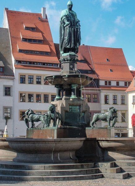 Freiberg Obermarkt Ottobrunnen mit Düsenfeld