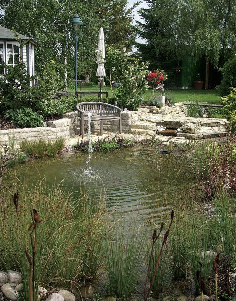 Teichanlage mit Fontaine